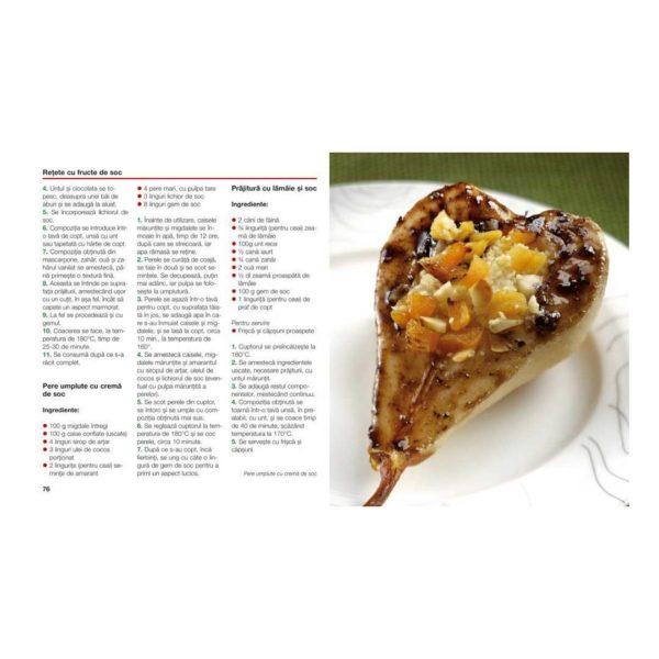 o rețetă cu Sambucus nigra și alte informații utile despre soc și prepararea sa culinară, din cartea Socul: cultivare, utilizare în gastronomie şi în farmacia casei
